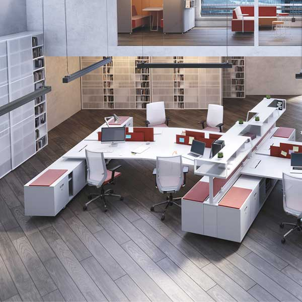 Bureau individuel ou open space espace bureau - Amenagement bureau open space ...