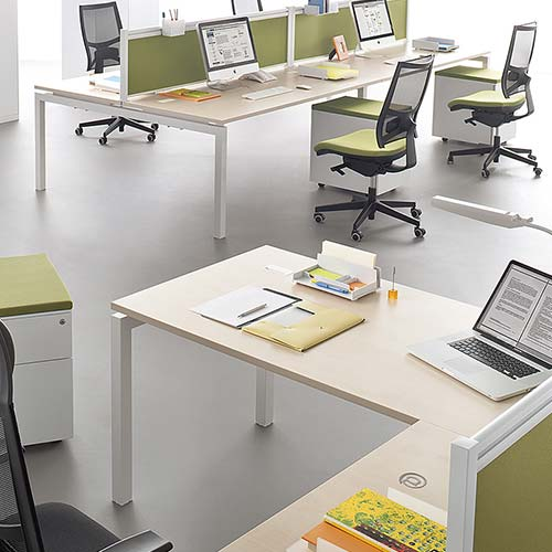 Bureau individuel et bench for Bureau 4 postes de travail