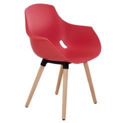 Chaise mahé pied bois coque brique