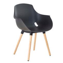 Chaise mahé pied bois coque noire