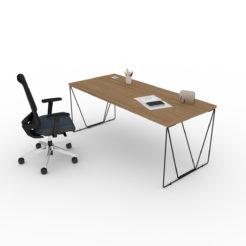 Bureau simple Let'Work plateau noyer pieds noirs