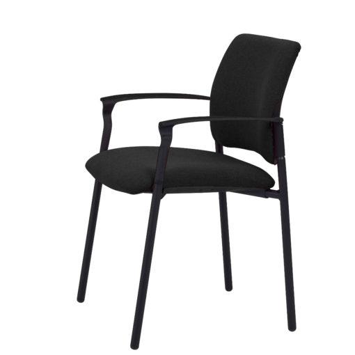 chaise de réunion Ethan avec accoudoirs noir