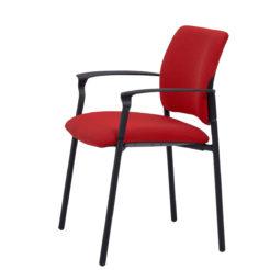 chaise de réunion Ethan avec accoudoirs rouge