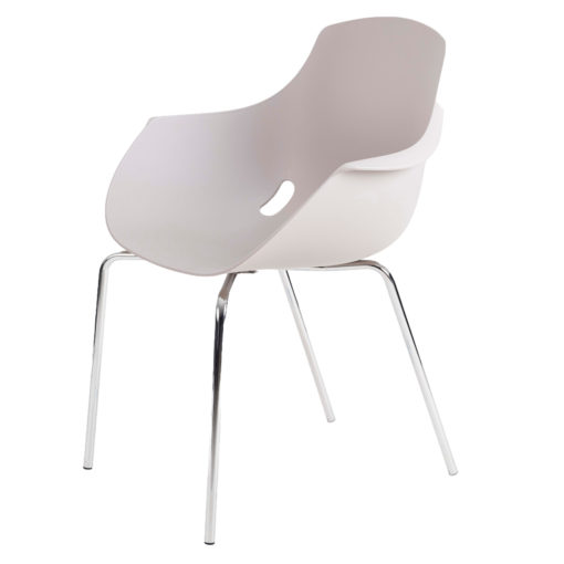 chaise mahe coque blanche pieds chrome
