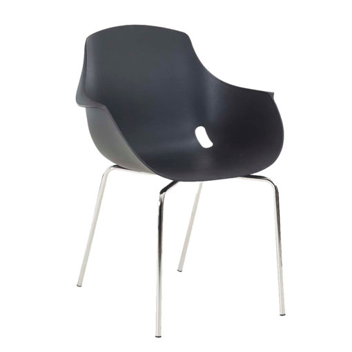 chaise mahe coque noire pieds chrome